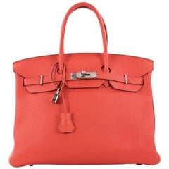 Hermes Birkin Handbag Bougainvillia Red Clemence with Palladium Hardware 35