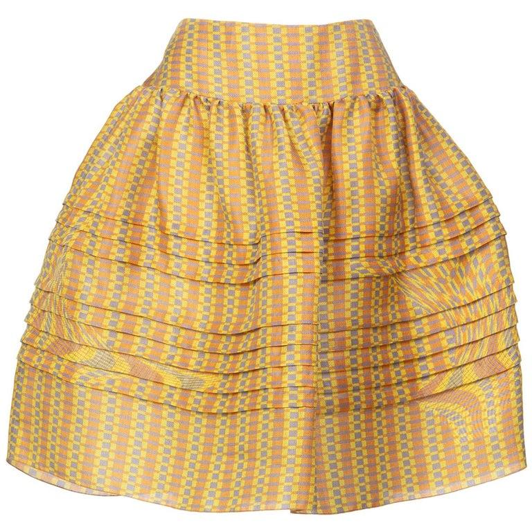 2008 Prada Fairy Runway Yellow Printed Silk Organza Skirt