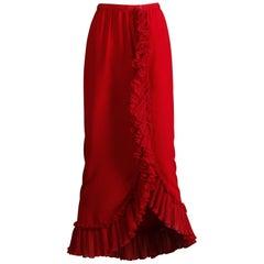 Giorgio Sant'Angelo Vintage Burgundy Red Knife Pleated Ruffle Maxi Skirt, 1970s