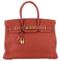 Hermes Birkin Handbag Sanguine Fjord with Gold Hardware 35