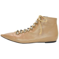 Balenciaga Tan Leather Pointed Toe Ankle Boots Sz 40 with Box, DB
