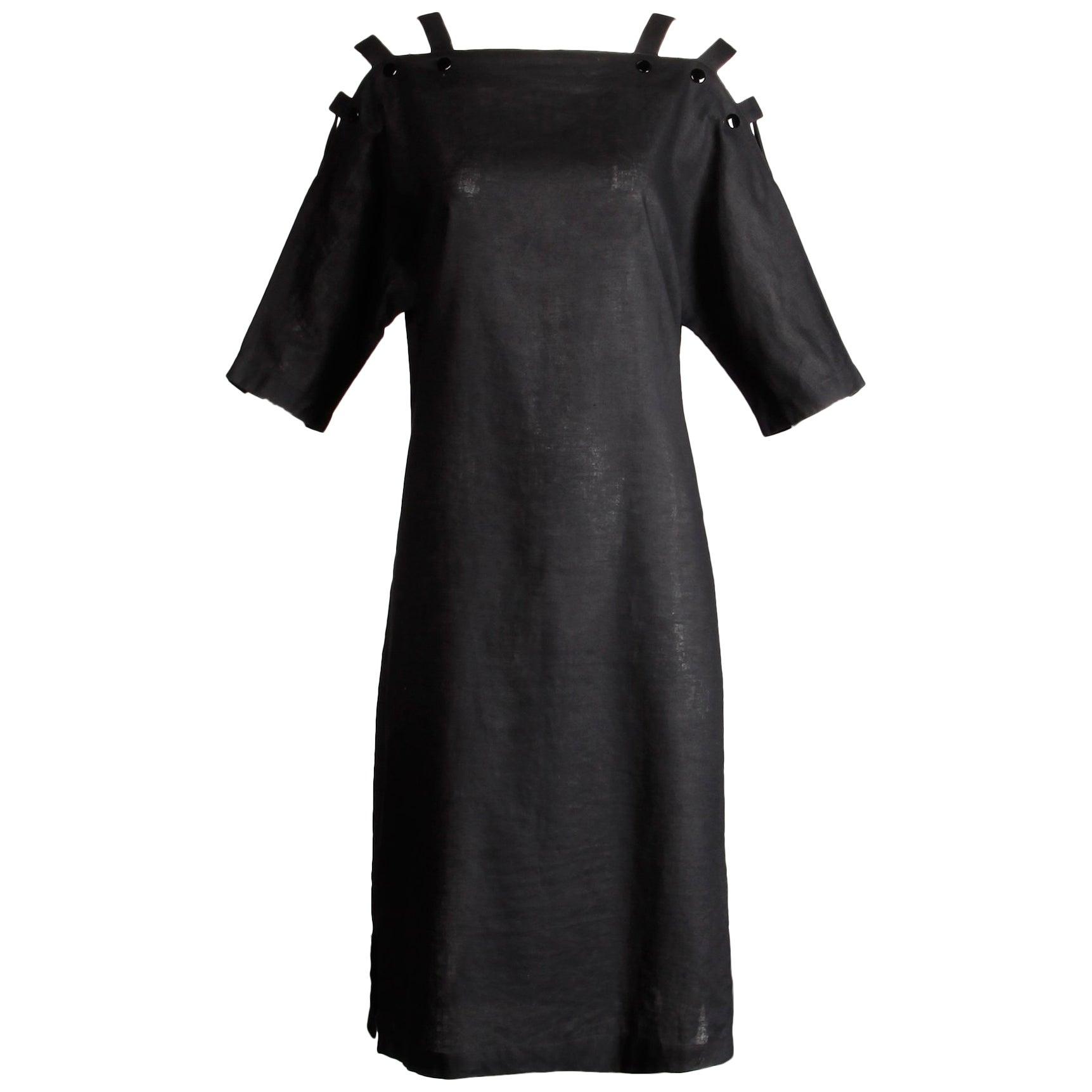 Pierre Cardin Avant Garde Black Cut Out Cage Cold Shoulder Tunic Dress, 1980s