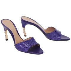 Tom Ford for Gucci Genuine Crocodile Purple Bamboo Heeled Shoes 6 B