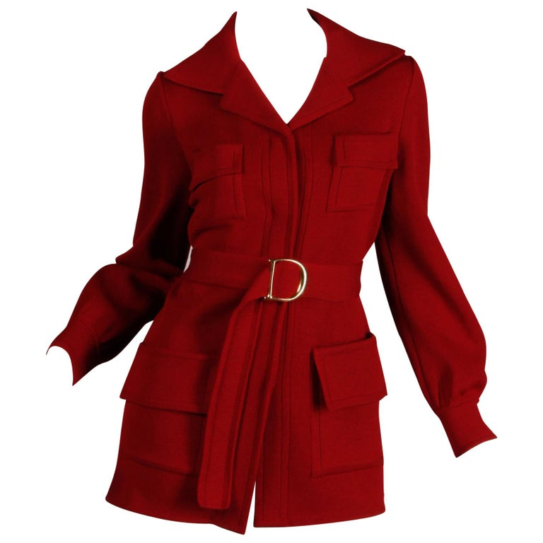 d919ec2723 1970s Vintage Burgundy Wool Knit Cardigan Sweater Jacket with a Matching Belt  For Sale at 1stdibs