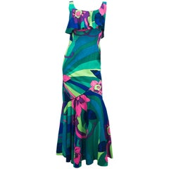 1960s Printed Floral Dress with Ruffled Hem.
