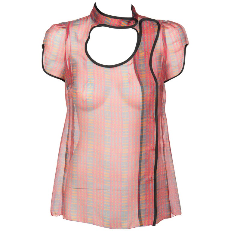 2008 Prada Runway Fairy Collection Silk Cut Out Tunic Blouse