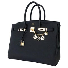 Hermes 2018 Brand New Birkin 35 with TOGO leather in Black with Gold Hardware
