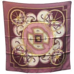 Hermes Vintage Washington's Carriage Silk Scarf in Rose c1970s