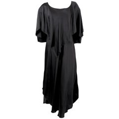 1970's SONIA RYKIEL black bias-cut layered silk dress