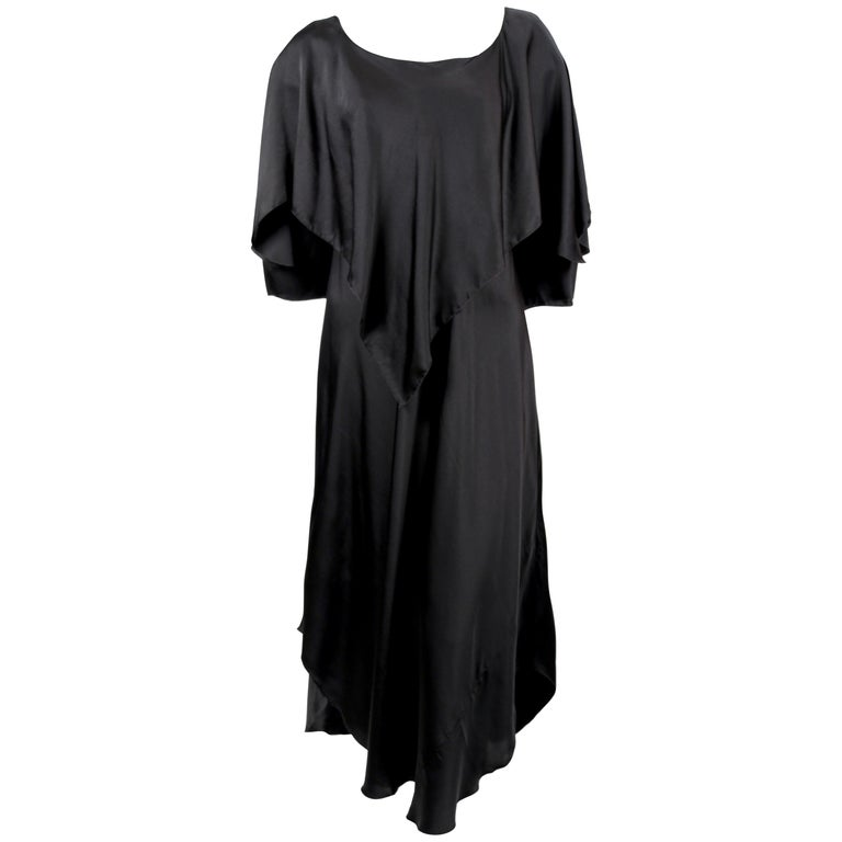 1970's SONIA RYKIEL black bias-cut layered silk dress For Sale
