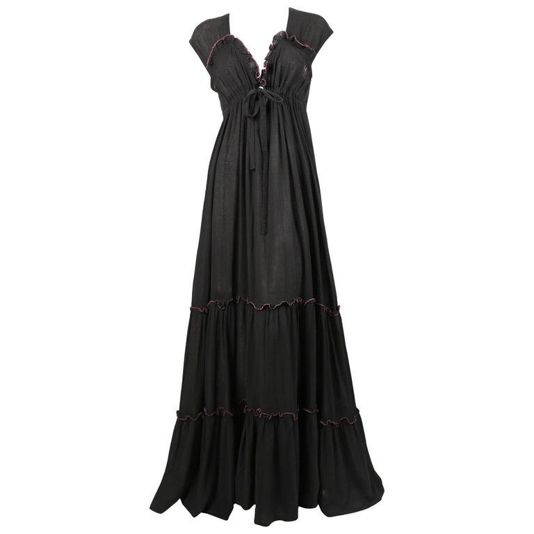 Radley black gauze maxi dress with pink stitching, 1970s