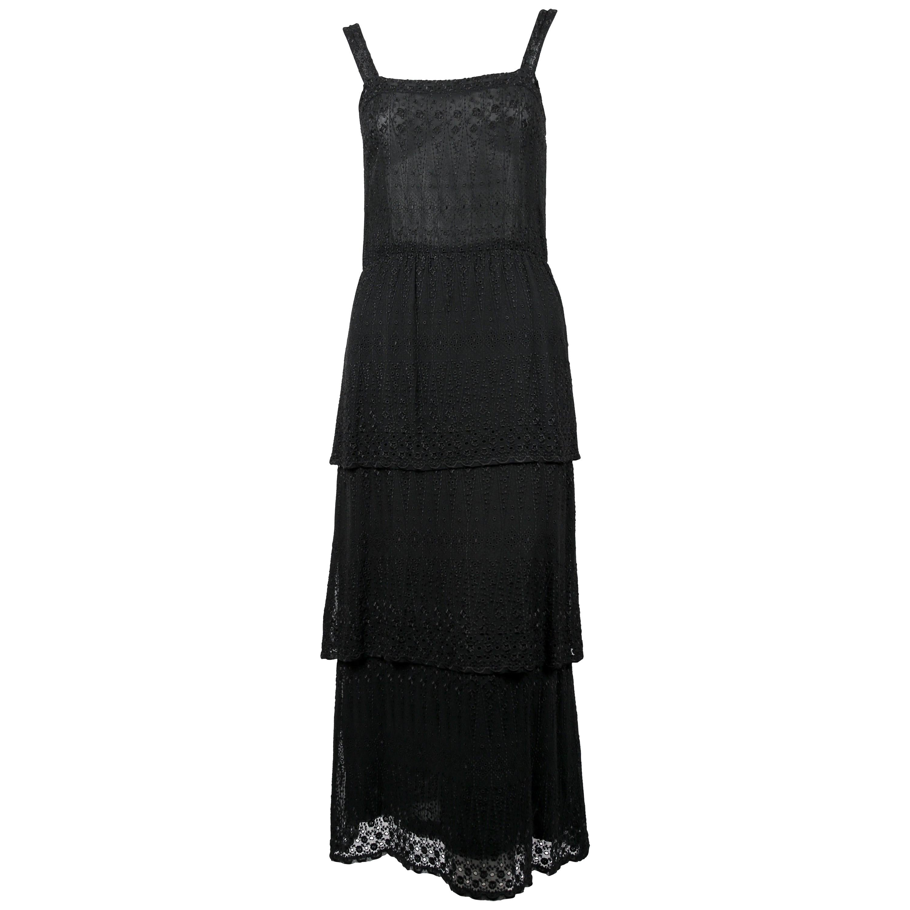 1970's TED LAPIDUS couture eyelet dress with tiered hem