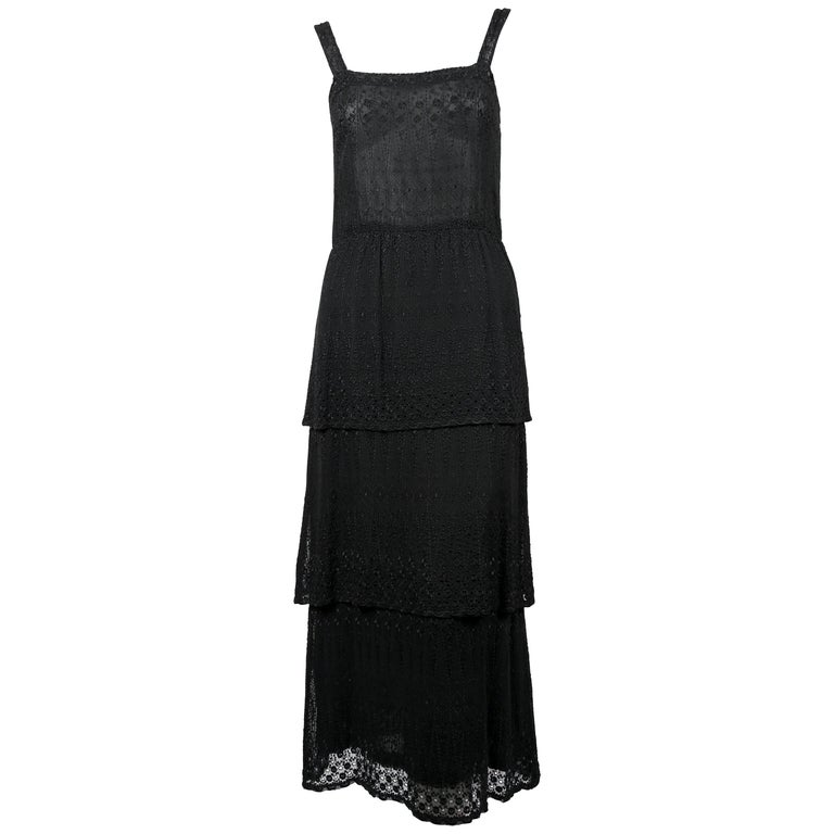 1970's TED LAPIDUS couture eyelet dress with tiered hem For Sale