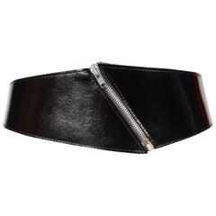 1980's AZZEDINE ALAIA black patent leather belt with zipper detail