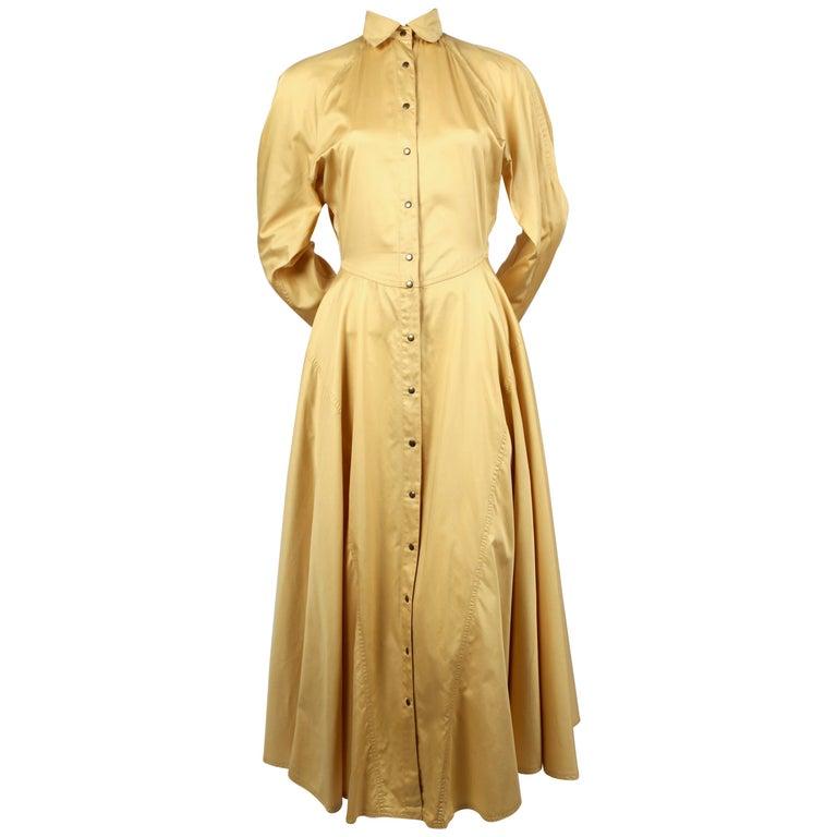 1980's AZZEDINE ALAIA saffron cotton dress with full skirt & snap closure