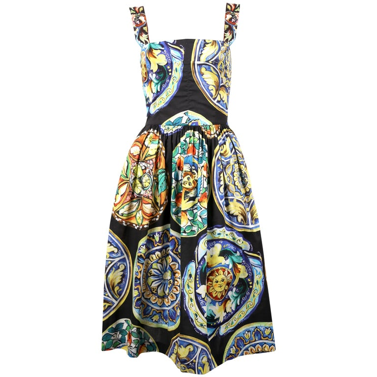 Dolce & Gabbana floral printed cotton dress For Sale