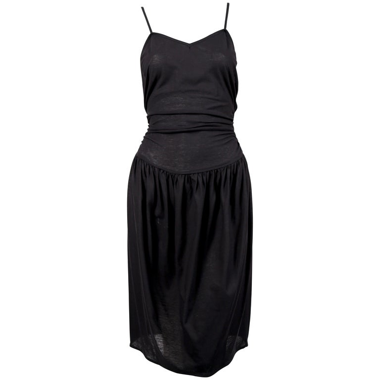1990's CERRUTI 1881 black shirred cotton dress For Sale