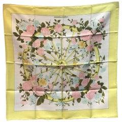 Hermes Vintage Romantique Silk Scarf in Yellow c1970s