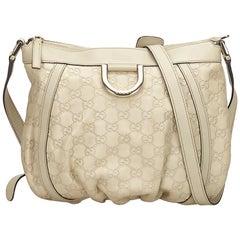 Gucci White Gucissima D-Ring Crossbody Bag