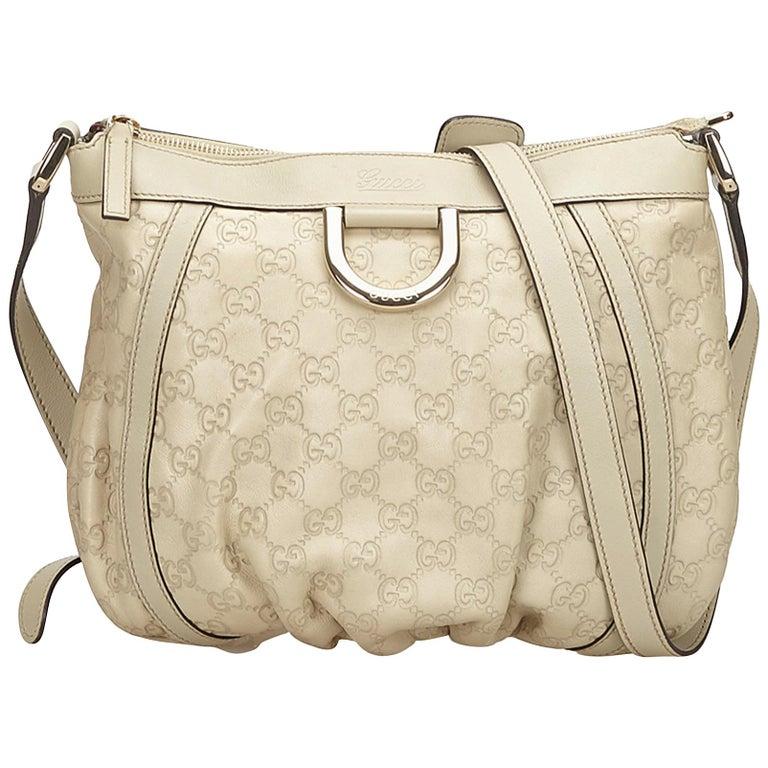 f6ec9f03323 Gucci White Gucissima D-Ring Crossbody Bag at 1stdibs
