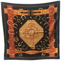 Hermes Vintage Porte Bonheur Silk Scarf in Black c1970s