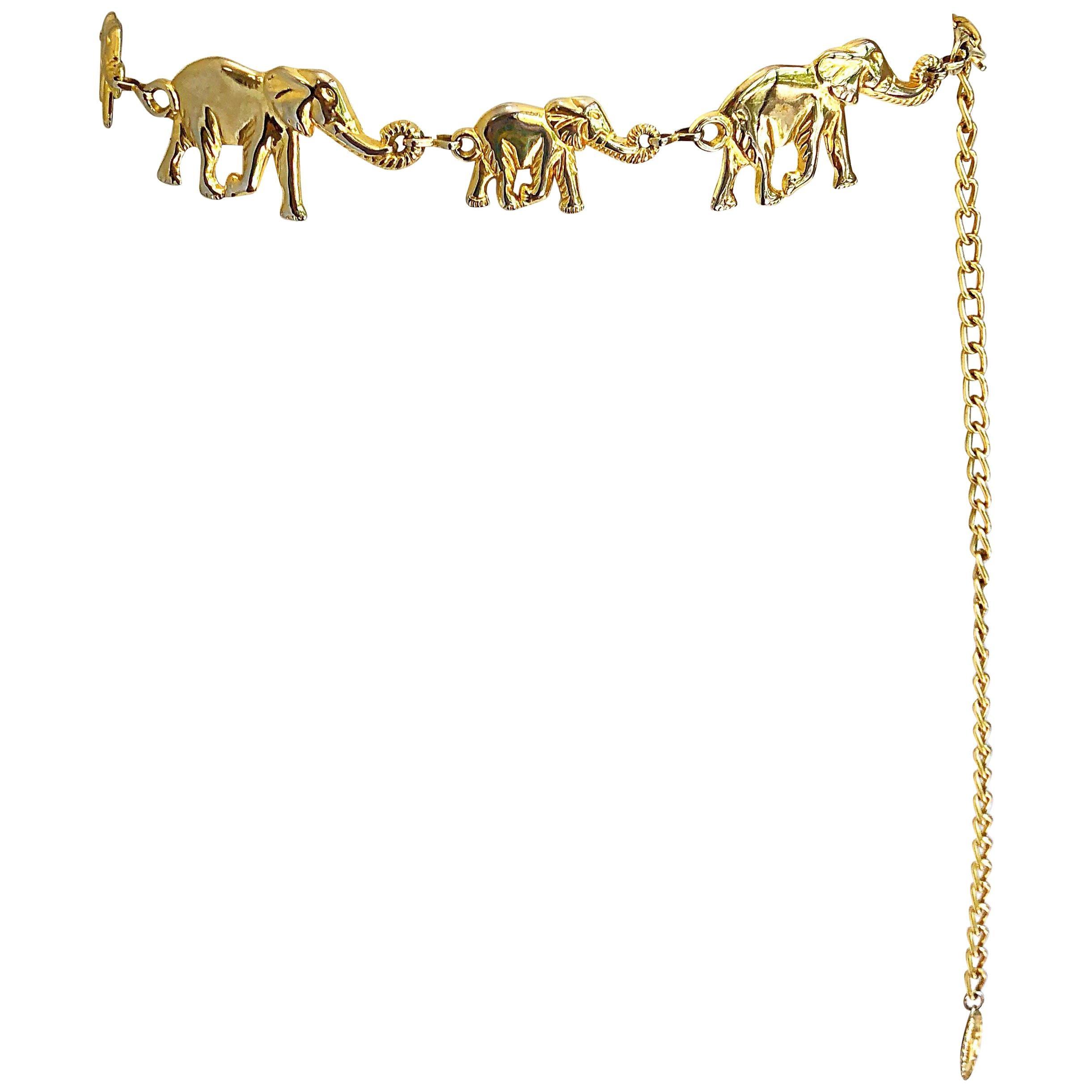 Amazing 1990s Gold Metal Elephant Novelty Vintage 90s Chain Bold Belt / Neclace