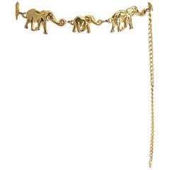 Amazing 1990s Gold Metal Elephant Novelty Vintage 90s Chain Bold Belt / Neclace