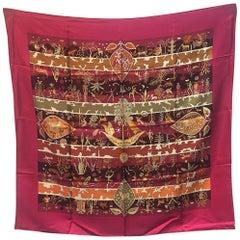 Hermes Rives Fertiles Silk Scarf in Magenta