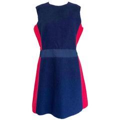Miu Miu Early 2000s Navy Blue + Red Virgin Wool Size 44 US 8 A - Line Mod Dress