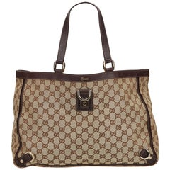 Gucci Brown x Beige GG Abbey-D Ring Tote