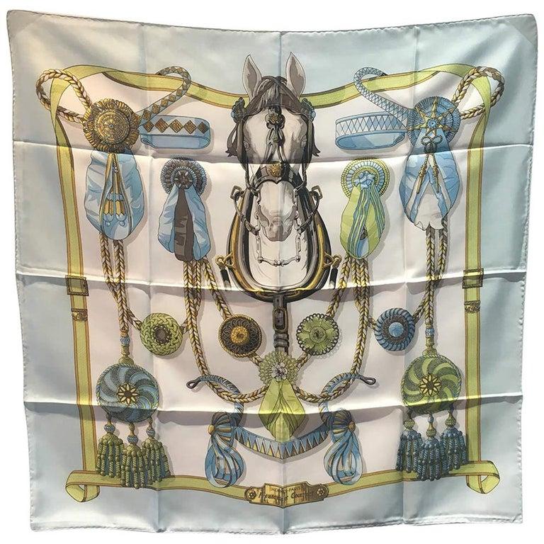 Hermes Vintage Frontaux et Corcardes Silk Scarf in Blue c1960s