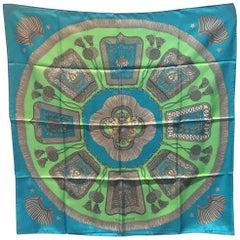 Hermes Vintage Poste et Cavalerie Silk Scarf in Teal