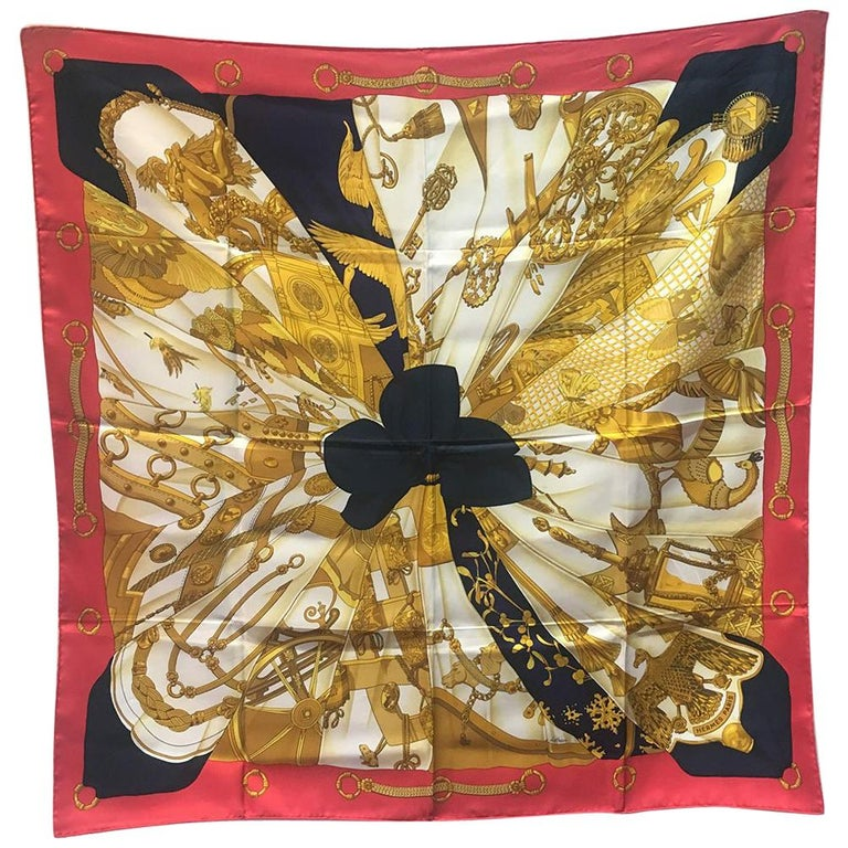 Hermes Vintage Soleil de Soie Silk Scarf in Navy and Red c1990s