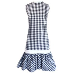 Chic 1960s Carol Rodgers Grey + White Checkered Gingham Flounce Hem 60s Dress