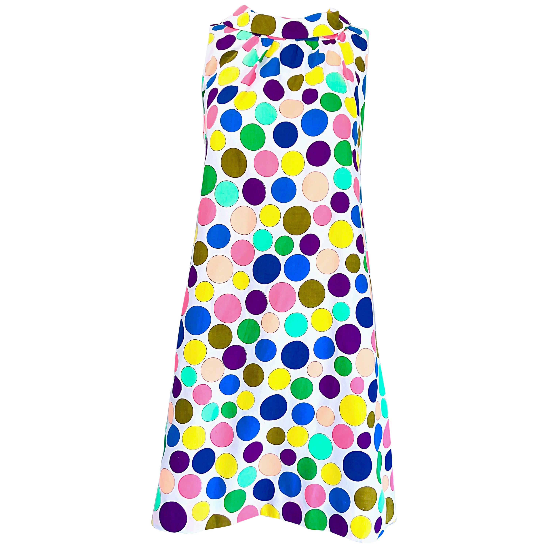 1960s Colorful Polka Dot Vintage 60s Cotton Trapeze A - Line Mod Dress