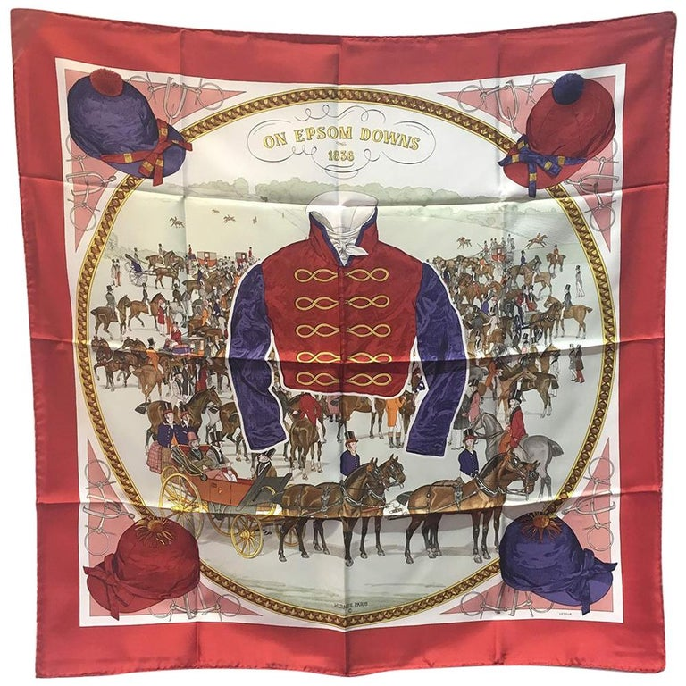 Hermes Vintage On Epsom Downs Silk Scarf, circa 1970s in Red