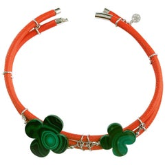 Rock Lily Orange Leather Double Choker With Malachite Clovers In Sterling Silver