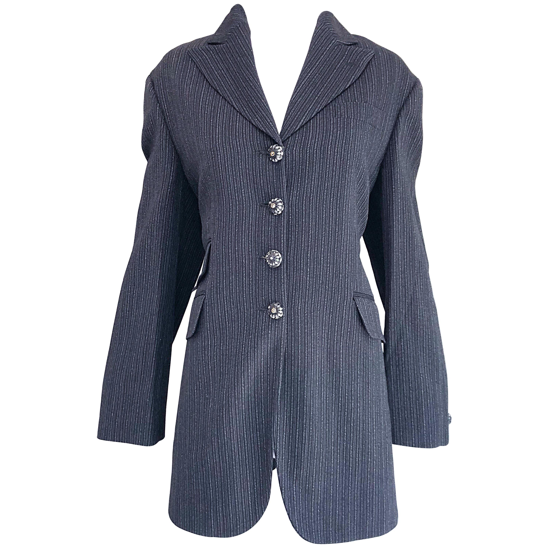 Vintage Romeo Gigli 1990s Size 44 Grey Black Rhinestone 90s Blazer Jacket