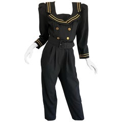 Incredible Vintage Black  + Gold Belted Nautical Long Sleeve Trouser Jumpsuit