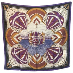 Hermes Vintage Purples and Gold Spinnaker Silk Scarf, circa 1980s