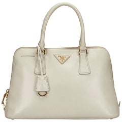 Prada White x Ivory Galleria Leather Satchel