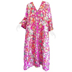 Incredible 1970s Saks 5th Avenue Chiffon Pink + Gold Metallic Caftan Maxi Dress