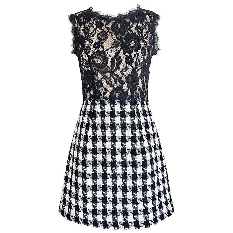 Marc Jacobs Early 2000s Black and White Lace Houndstooth Checkered Mini Dress