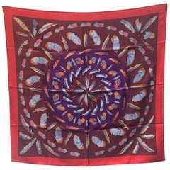 Hermes Vintage Plumes Silk Scarf c1950s in Red and Purple
