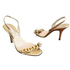 Michael Kors Collection Size 8 Gold Leather Chain Link High Heel Sandals / Shoes