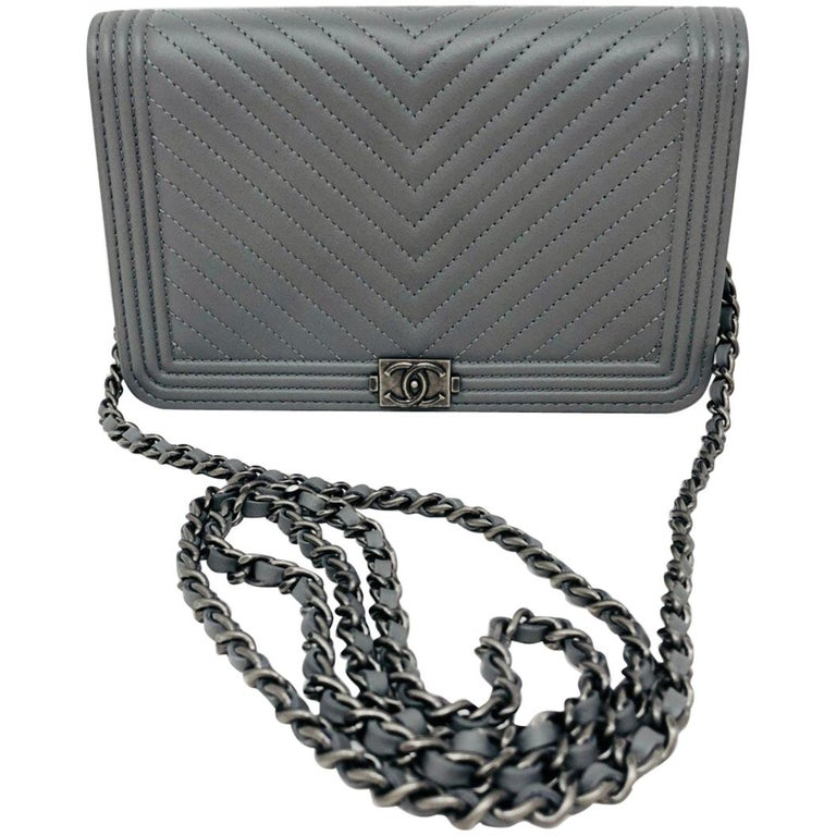 58900fe9bec7 Chanel Grey Boy Wallet On A Chain Crossbody at 1stdibs