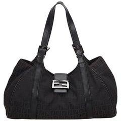 Fendi Black Zucchino Jacquard Shoulder Bag