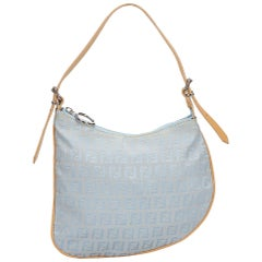 Fendi Brown x Blue Jacquard Zucchino Hobo Bag