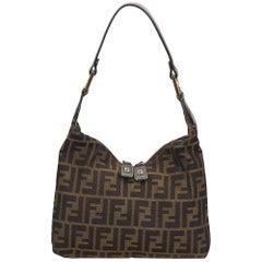 Fendi Brown x Black Zucca Jacquard Shoulder Bag
