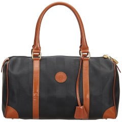Fendi Brown x Black PVC Pequin Boston Bag
